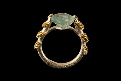 Aqua River: Gold plated silver ring with aquamarine