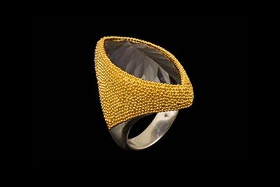 Indigo Dust: Gold plated silver ring with iolite