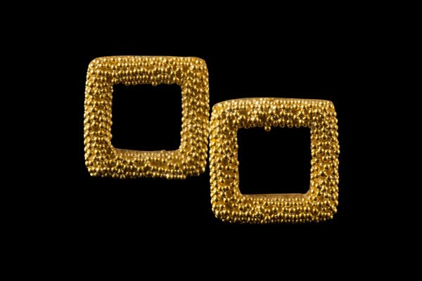 SQUARE 1: gold plated silver stud earrings