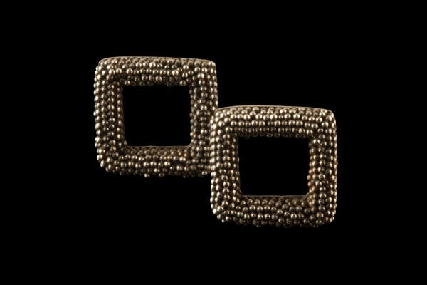 SQUARE 2: silver stud earrings