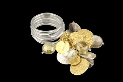 Jingle jungle: silver and gold plated ring with coins cut lemon topaz