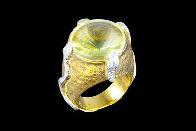 Eversnakes 1: gold plated brass and silver ring with lemon topaz