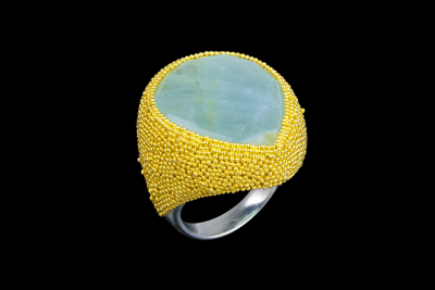 Blue Dust: gold plated silver ring with aquamarine