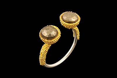 Double Out 2: Gold silver ring with pyrite