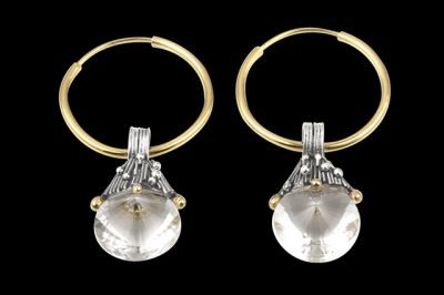 Everest 3: Silver and gold plated earrings with conic cut crystal quartz