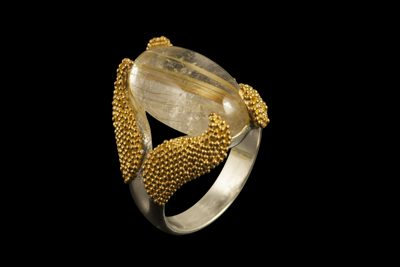 Gold Catcher: Gold plated silver ring with gold rutilated quartz
