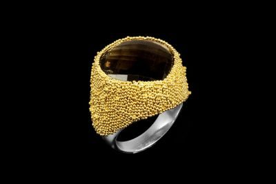Golden Dust 1: gold plated silver ring with faceted smoky topaz