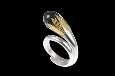 Golden Leaves 3: Gold plated silver ring with drop cut black spinel