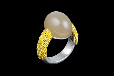 Moon Island: Gold plated silver ring with pale moonstone