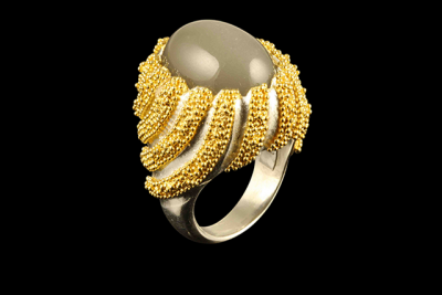 Moonwaves: gold plated silver ring with moonstone