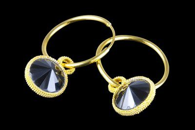 Circle in the round 6: gold plated silver earrings with smoky topaz