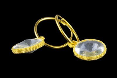Circle in the Round 7: gold plated silver earrings with crystal quartz