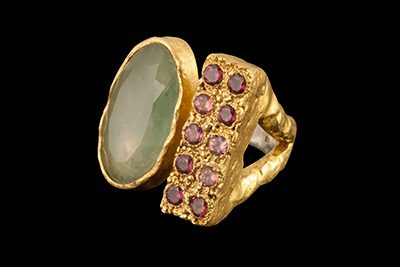 Eleven 2: Gold plated silver ring with aquamarine and rodolite