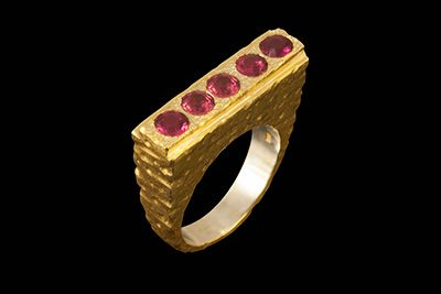 High Five: Gold plated silver ring with rodolite