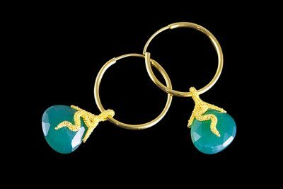Green Valleys 3: Gold plated silver earrings with green onix