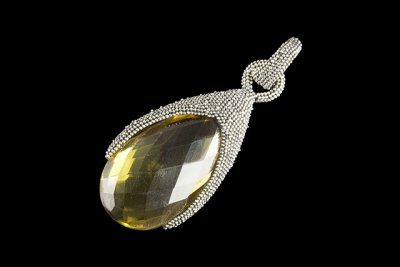 Hanging drop 2: Silver pendant with smoky topaz
