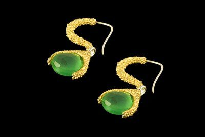 Hanging green drop 5: Gold plated silver earrings with green onix