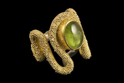 Olivine Peak: Gold plated silver ring